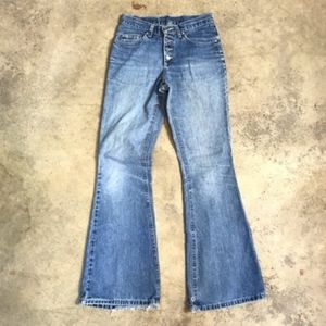 LEE 90s Y2K Flare Distressed Button Jeans 7 Long